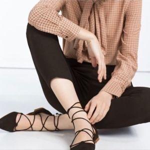 Zara Basics Black Lace Up Flats